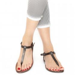 Hand gefertigte italienische Sandalen aus dunkelbraunem Leder