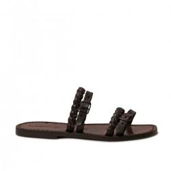 Hand gefertigte Damen-Slippersandalen aus dunkelbraunem Leder