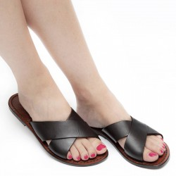 Brown leather slide sandals for women handmade