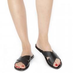 Schwarzen Leder-Riemchensandalen für Damen Handgefertigt in Italien