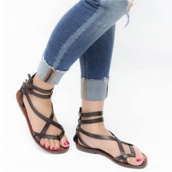 Hecho a mano en Italia womens esclavo sandalias en cuero marrón oscuro