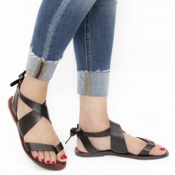 Women sandals in Dark Brown Leather handmade in Italy