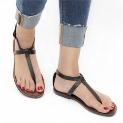 Damen-Riemchen-Sandalen aus dunkelbraunem Leder in Italien von Hand gefertigt