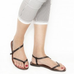 Dark brown flat thong sandals for women