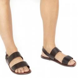 Hand gefertigte Franziskaner-Sandalen für Männer aus braunem Leder