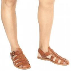 Herren-Sandalen aus Leder im Vintage-Look in Italien von Handgefertigt