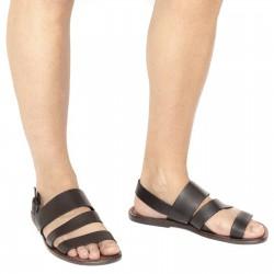 Sandalias de cuero marrón hecho a mano en Italia para los hombres
