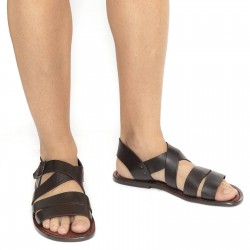 Handmade in Italy mens sandals in dark brown leather
