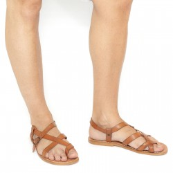 Handmade leather sandals for men in vintage cuir color