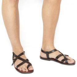 Handgemachte Herren-Sandalen aus dunkelbraunem Leder