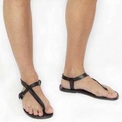 Herren Flip-Flop-Sandalen aus schwarze Leder in Italien von Handgefertigt