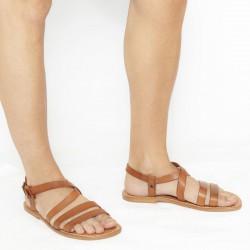 Sandali francescani uomo fatti a mano in pelle color cuoio antico