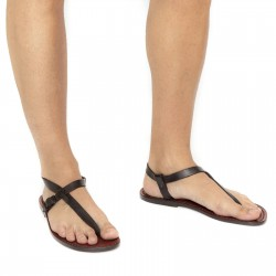 Handmade brown leather thong sandals for men