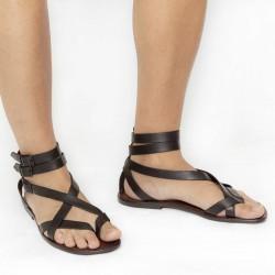 Sandales gladiateur homme en cuir marron artisanales