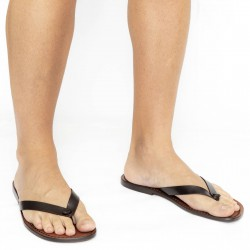 Dark brown leather thongs sandals for men Handmade