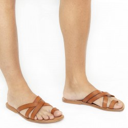 Mens leather thong sandals handmade in Italy in vintage cuir leather