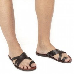 Mens brown leather thong sandals handmade in Italy