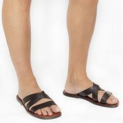 Handmade genuine brown leather men's slippers sandals