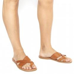 Handmade italian leather thongs sandals for men