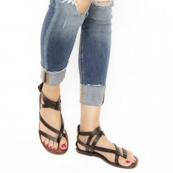 Flache Hand gefertigte Damen-Sandalen mit Riemchen aus dunkelbraunem Leder