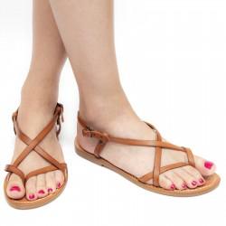 Sandali cuoio artigianali donna fatti a mano in pelle colore cuoio antico