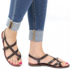 Damen Riemchen-Sandalen aus dunkelbraunem Leder in Italien von Hand gefertigt