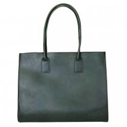 Bolso shopping de cuero verde hechos a mano
