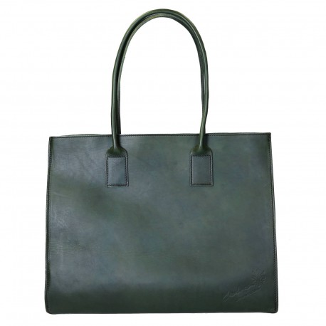 Shopping bag marrone in vera pelle di vacchetta