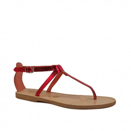 Handmade t-strap sandals in red laminated leather