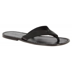 Handmade black leather thongs for men with leather sole