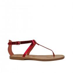 Sandals tongs artisanales en cuir laminé rouge