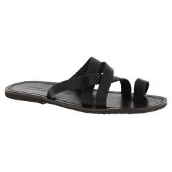 Herren Flip-Flop-Sandalen aus Schwarzen Leder in Italien von Handgefertigt