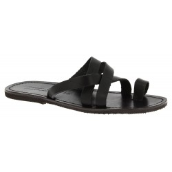 Men's black leather thong sandals handmade in Italy