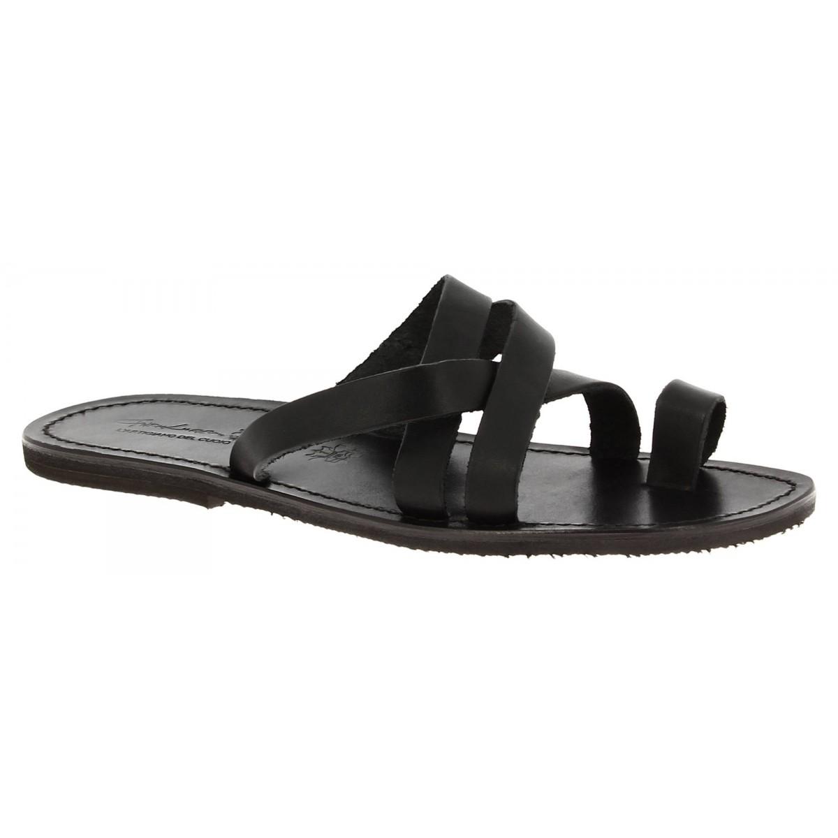 mens black leather flip flops
