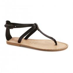 Sandale tong en cuir effet vintage pour femme