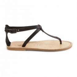 Sandale tong en cuir marron foncé effet vintage pour femme
