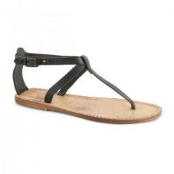 Sandale tong en cuir noir effet vintage pour femme
