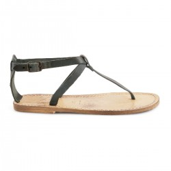 Handmade t-strap flat sandals in black leather vintage effect