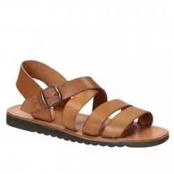 Sandales pour homme en cuir travaillé à la main marron claire