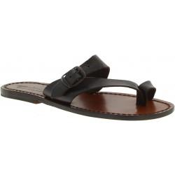 Sandalias de cuero de color marrón para mujeres