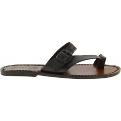 Leather thong sandals for women brown color leather