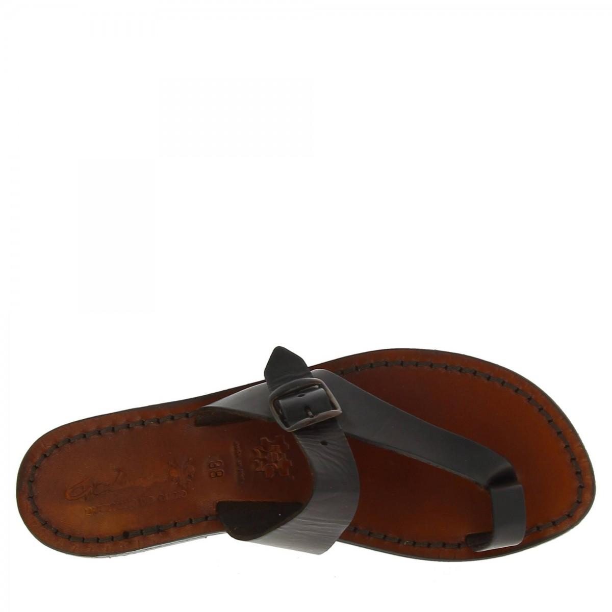 Braune Riemchensandalen für Damen aus Leder