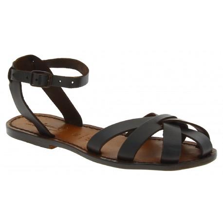Sandalias planas hecho a mano en Italia para las mujeres reales de cuero marrón oscuras