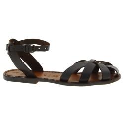 Dunkelbraune Damen-Sandalen in Italien von Hand gefertigt aus echtem Leder