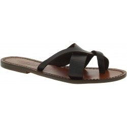 Sandalias de cuero marron oscuro para mujeres hechos a mano en Italia