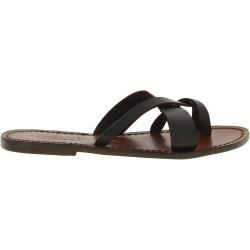 Damen-Riemchen-Sandalen aus dunkelbraune Leder in Italien von Handgefertigt
