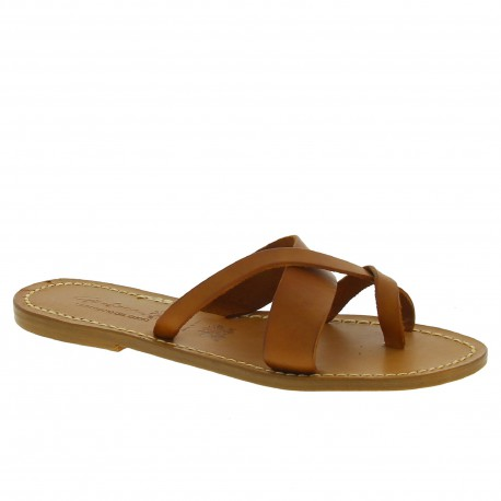 Women's thong sandals Handmade in Italy in tan calf leather