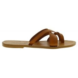Sandalias de cuero marron para mujeres hechos a mano en Italia