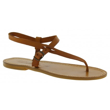 Handmade leather thong sandals for women in tan color