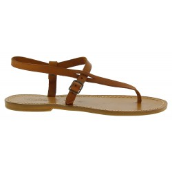 Handgefertigte italienische Sandalen damen aus braunem Leder